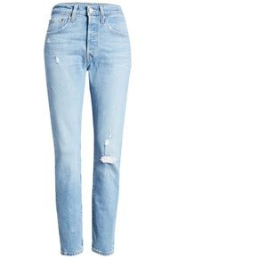 501 High Waist Ripped Ankle Skinny Jeans